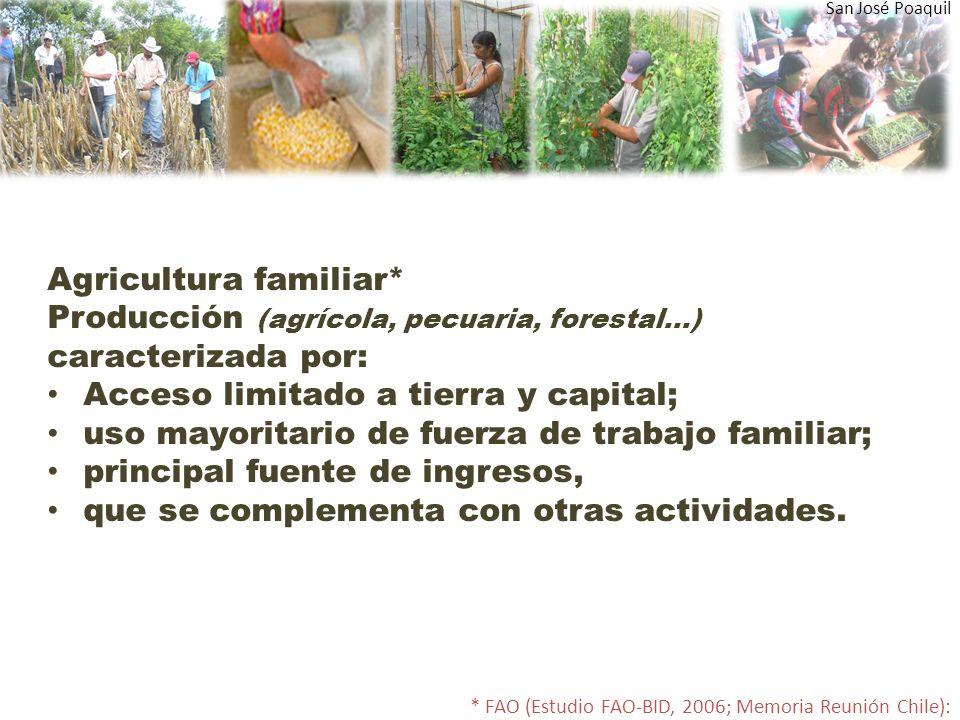 Agricultura familiar* Producción (agrícola, pecuaria, forestal…) caracterizada por: Acceso limitado a tierra y capital; uso mayoritario de fuerza de trabajo familiar; principal fuente de ingresos, que se complementa con otras actividades.