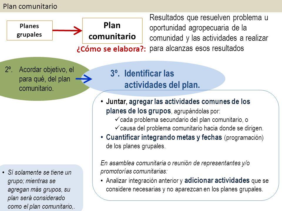 Plan comunitario Planes grupales Plan comunitario ¿Cómo se elabora?: Resultados que resuelven problema u oportunidad agropecuaria de la comunidad y las actividades a realizar para alcanzas esos resultados 2º.Acordar objetivo, el para qué, del plan comunitario.