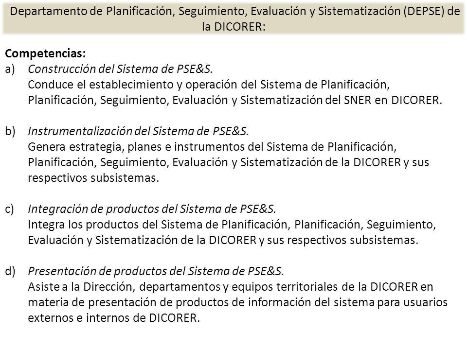 Competencias: a)Construcción del Sistema de PSE&S.