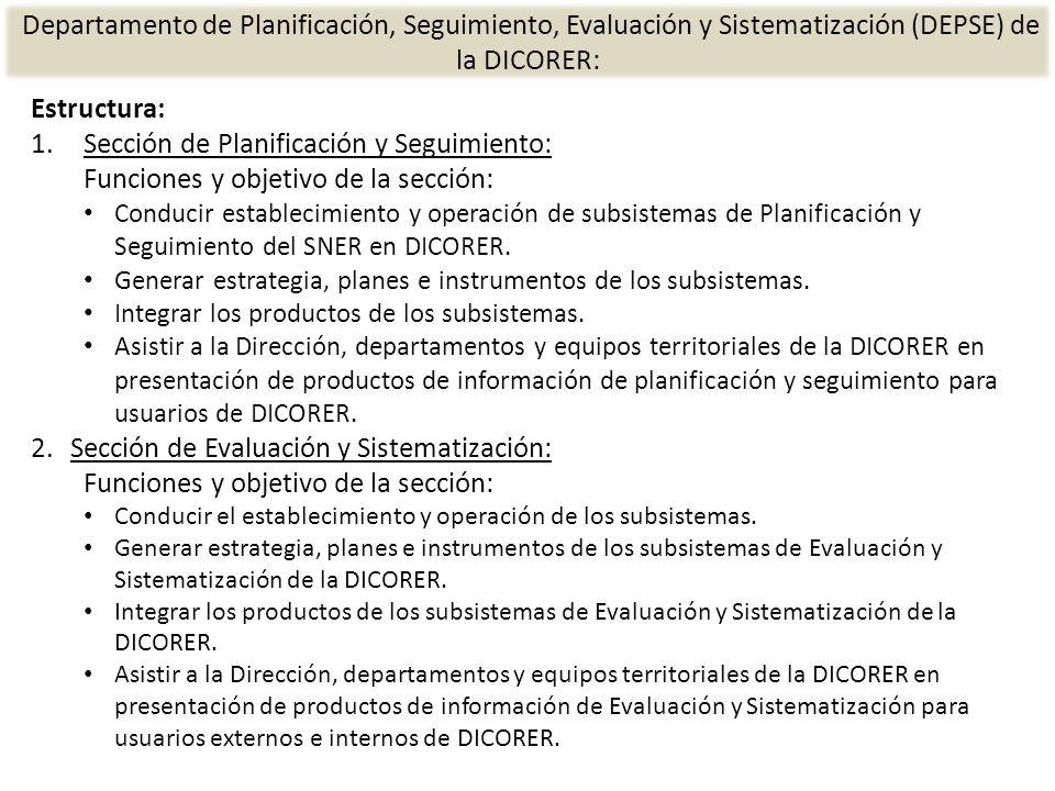 Estructura: 1.Sección de Planificación y Seguimiento: Funciones y objetivo de la sección: Conducir establecimiento y operación de subsistemas de Planificación y Seguimiento del SNER en DICORER.