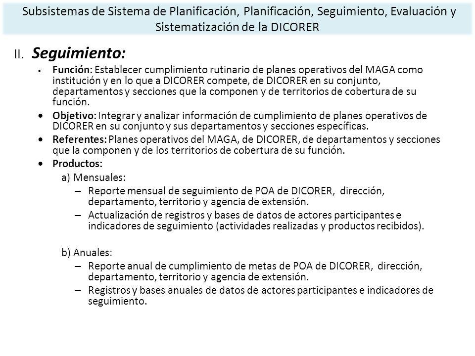 II. Seguimiento: Función: Establecer cumplimiento rutinario de planes operativos del MAGA como institución y en lo que a DICORER compete, de DICORER e