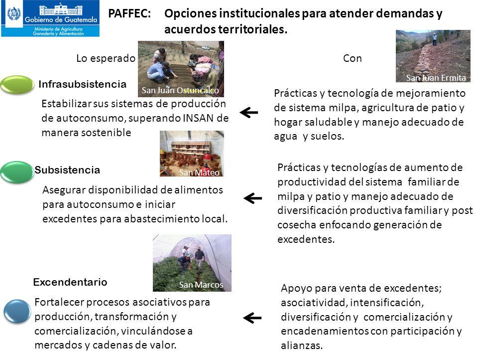 PAFFEC: Opciones institucionales para atender demandas y acuerdos territoriales.