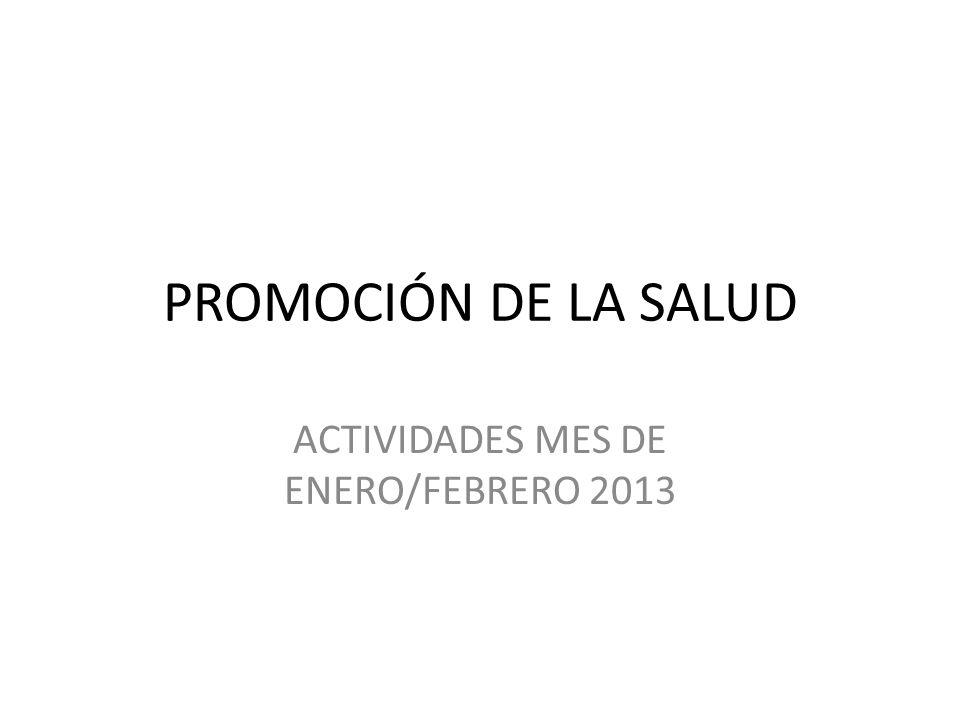 PROMOCIÓN DE LA SALUD ACTIVIDADES MES DE ENERO/FEBRERO 2013