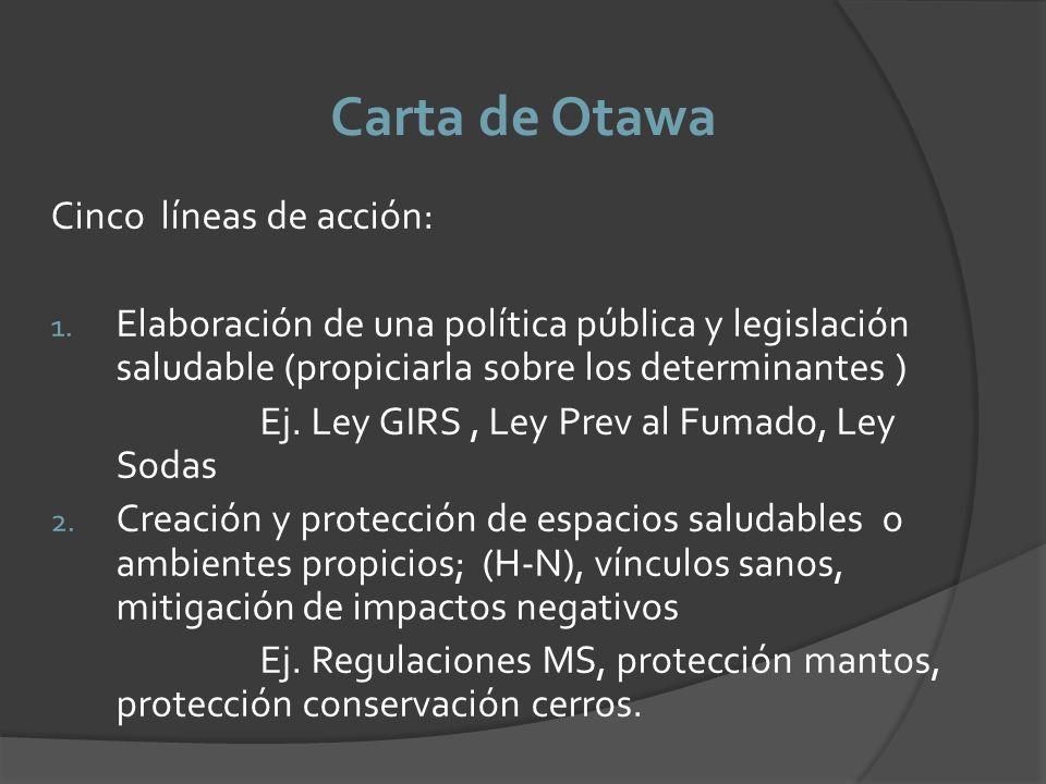Carta de Otawa Cinco líneas de acción: 1. Elaboración de una política pública y legislación saludable (propiciarla sobre los determinantes ) Ej. Ley G