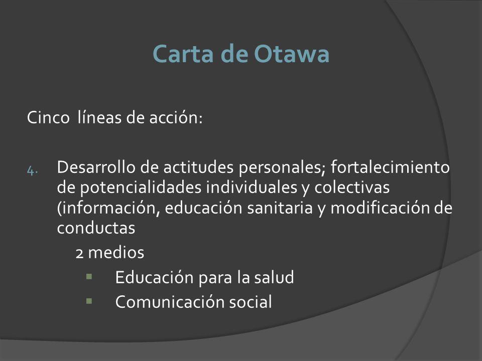 Carta de Otawa Cinco líneas de acción: 4. Desarrollo de actitudes personales; fortalecimiento de potencialidades individuales y colectivas (informació