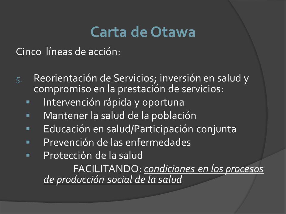 Carta de Otawa Cinco líneas de acción: 5. Reorientación de Servicios; inversión en salud y compromiso en la prestación de servicios: Intervención rápi
