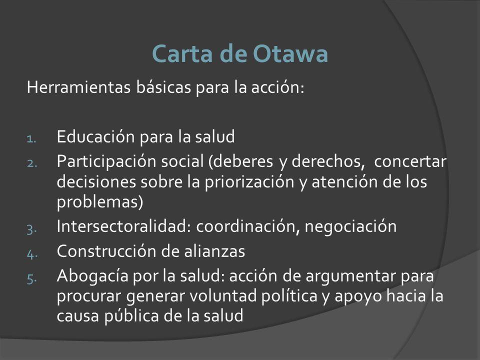 Carta de Otawa Herramientas básicas para la acción: 1. Educación para la salud 2. Participación social (deberes y derechos, concertar decisiones sobre