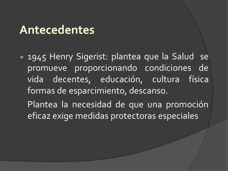 Antecedentes 1945 Henry Sigerist: plantea que la Salud se promueve proporcionando condiciones de vida decentes, educación, cultura física formas de es