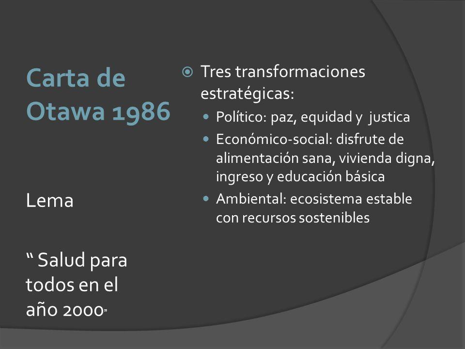 Carta de Otawa 1986 Lema Salud para todos en el año 2000 Tres transformaciones estratégicas: Político: paz, equidad y justica Económico-social: disfru