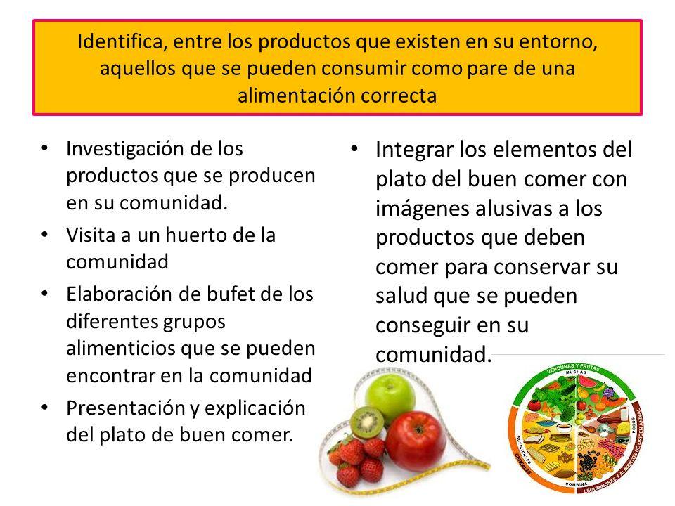 Identifica, entre los productos que existen en su entorno, aquellos que se pueden consumir como pare de una alimentación correcta Investigación de los productos que se producen en su comunidad.