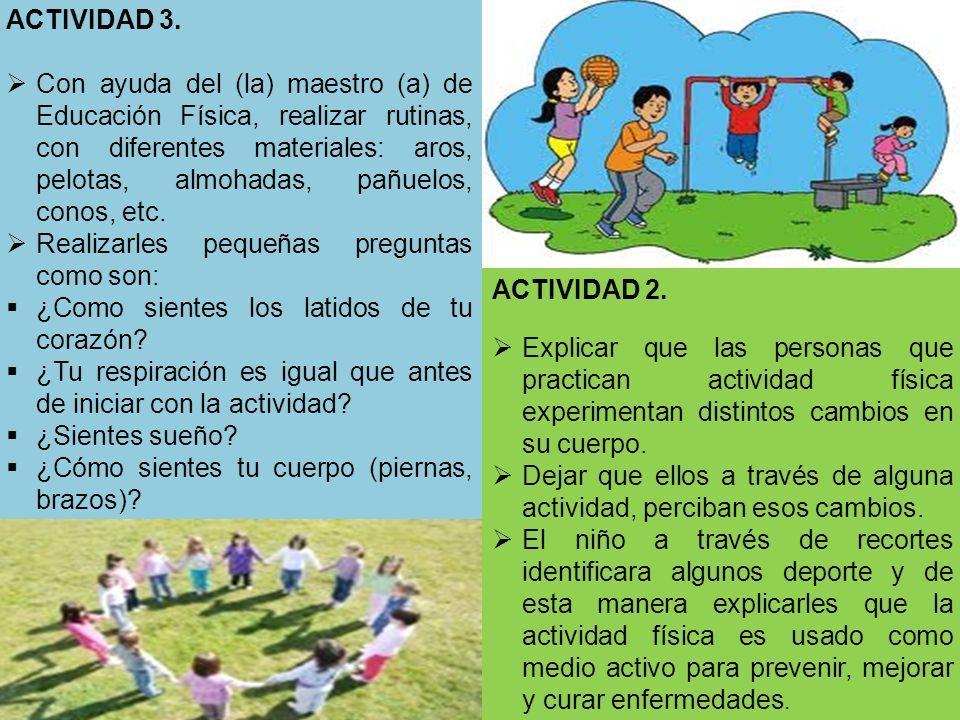 ACTIVIDAD 2. Explicar que las personas que practican actividad física experimentan distintos cambios en su cuerpo. Dejar que ellos a través de alguna