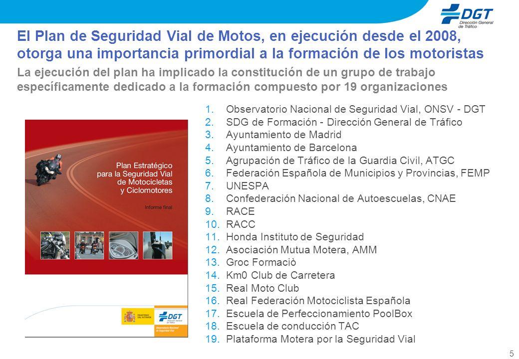 5 El Plan de Seguridad Vial de Motos, en ejecución desde el 2008, otorga una importancia primordial a la formación de los motoristas La ejecución del