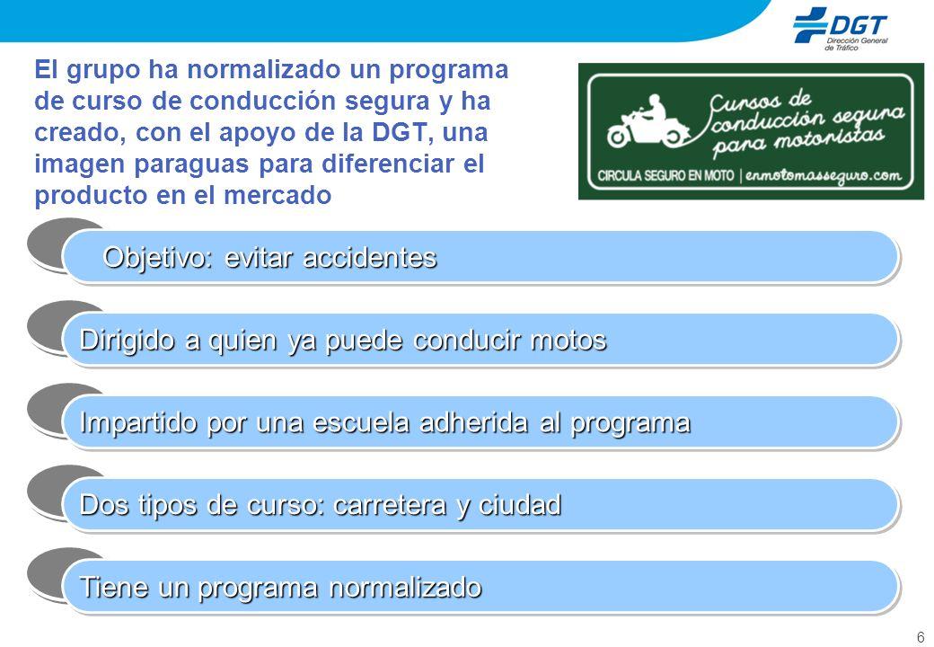 7 De momento hay 9 escuelas de conducción adheridas al programa, incluyendo la asociación nacional de autoescuelas Las escuelas participantes han aceptado el enorme reto de contribuir al desarrollo de un mercado voluntario de cursos de conducción segura