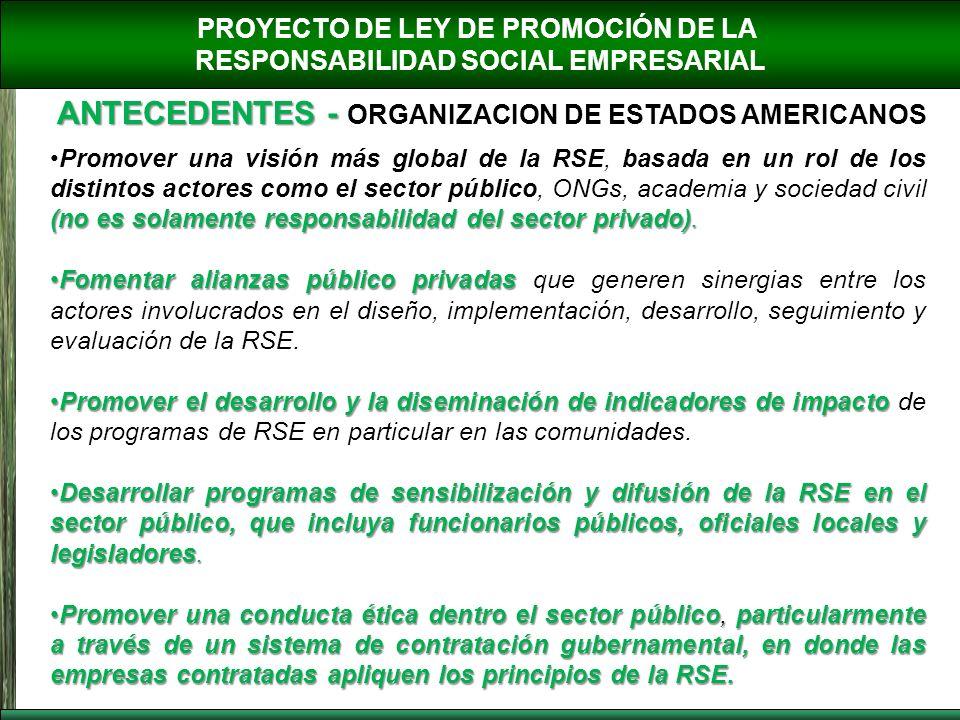 PROYECTO DE LEY DE PROMOCIÓN DE LA RESPONSABILIDAD SOCIAL EMPRESARIAL ANTECEDENTES - ANTECEDENTES - ORGANIZACION DE ESTADOS AMERICANOS (no es solament