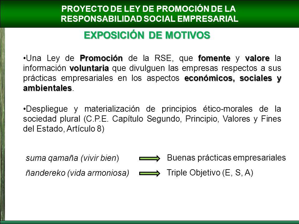 PROYECTO DE LEY DE PROMOCIÓN DE LA RESPONSABILIDAD SOCIAL EMPRESARIAL EXPOSICIÓN DE MOTIVOS Promociónfomentevalore voluntaria económicos,sociales y am