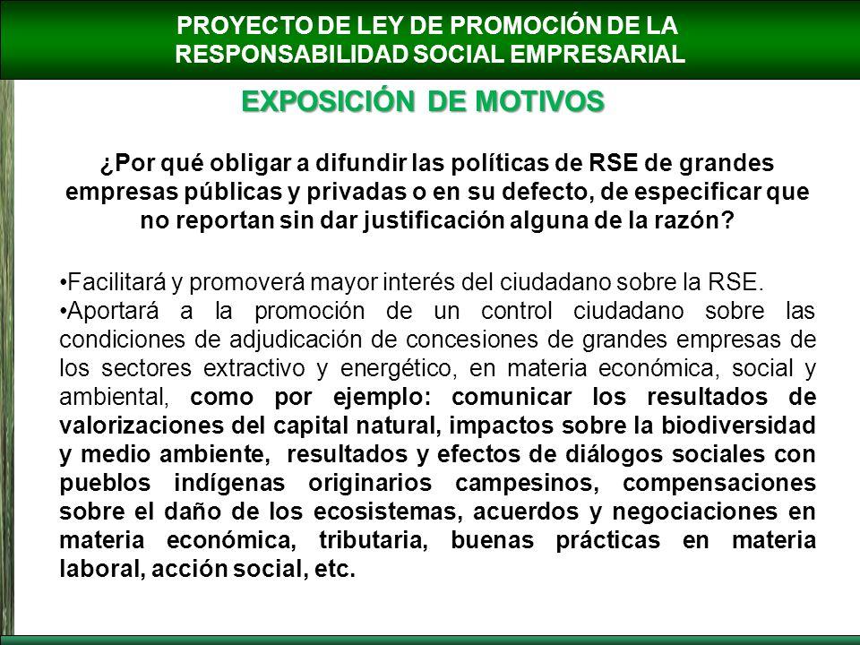 PROYECTO DE LEY DE PROMOCIÓN DE LA RESPONSABILIDAD SOCIAL EMPRESARIAL EXPOSICIÓN DE MOTIVOS ¿Por qué obligar a difundir las políticas de RSE de grande