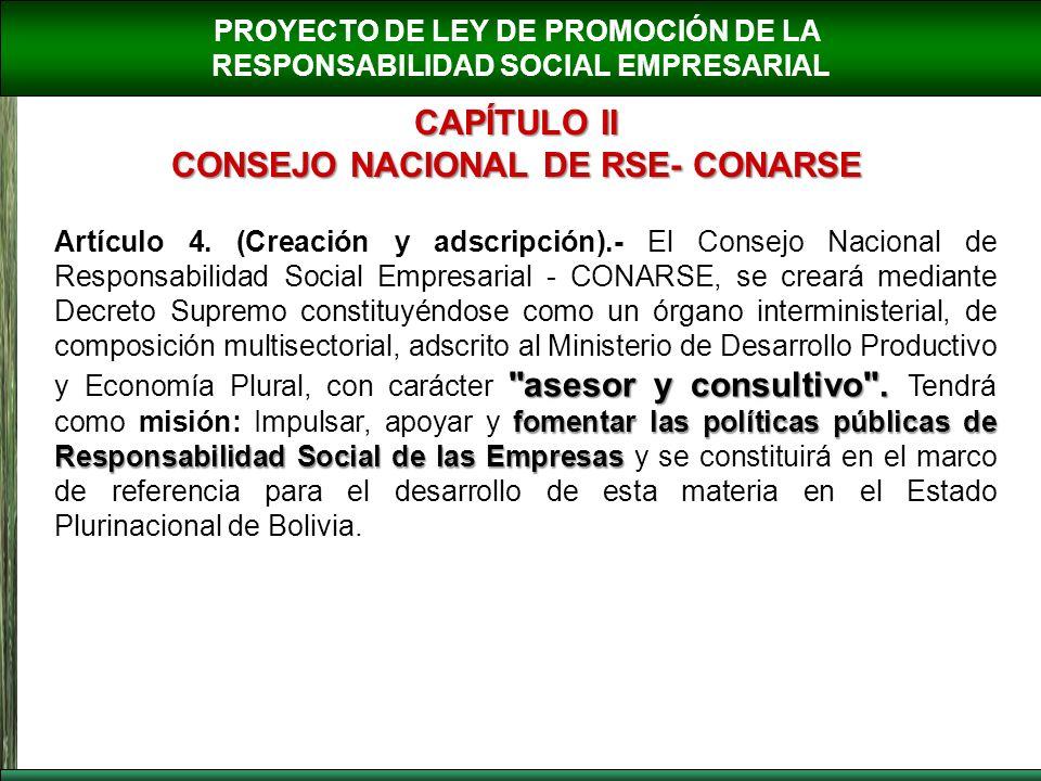 PROYECTO DE LEY DE PROMOCIÓN DE LA RESPONSABILIDAD SOCIAL EMPRESARIAL CAPÍTULO II CONSEJO NACIONAL DE RSE- CONARSE
