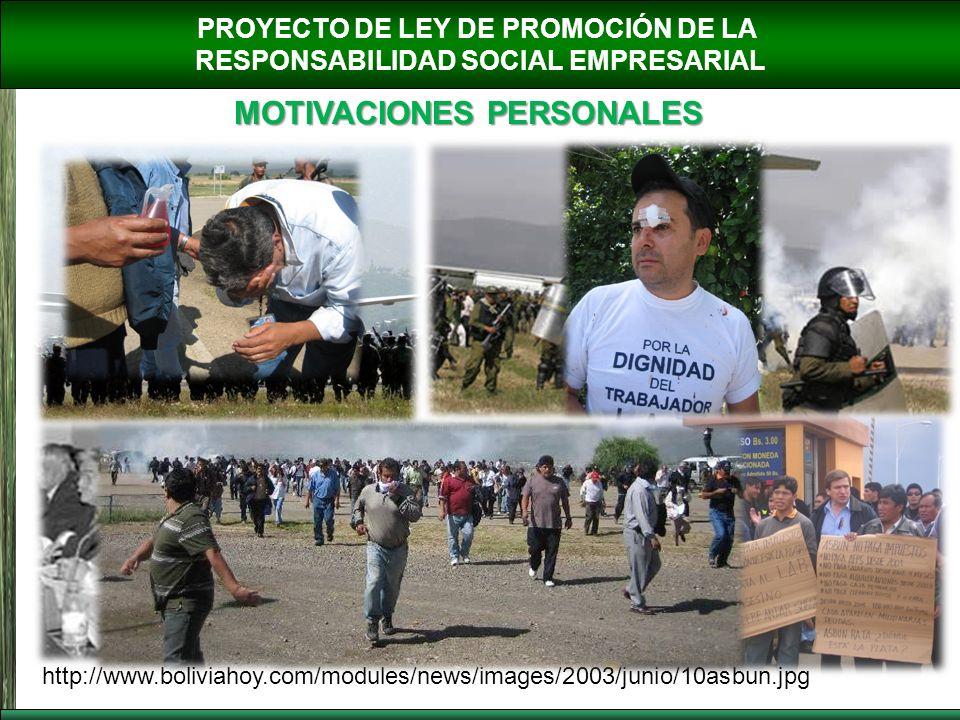 PROYECTO DE LEY DE PROMOCIÓN DE LA RESPONSABILIDAD SOCIAL EMPRESARIAL MOTIVACIONES PERSONALES http://www.boliviahoy.com/modules/news/images/2003/junio