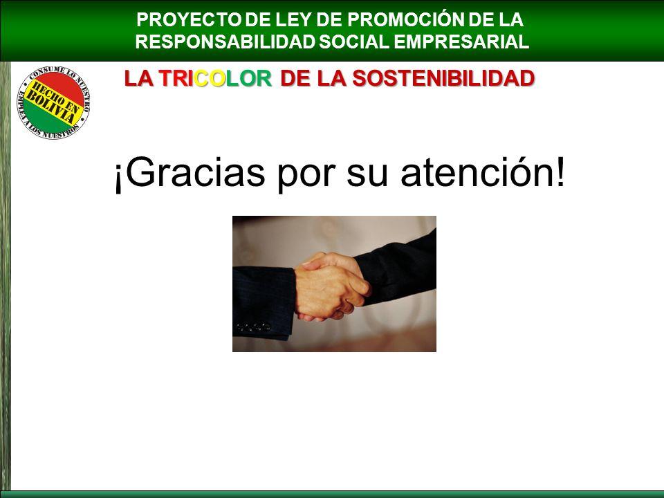 PROYECTO DE LEY DE PROMOCIÓN DE LA RESPONSABILIDAD SOCIAL EMPRESARIAL LA TRICOLOR DE LA SOSTENIBILIDAD ¡Gracias por su atención!
