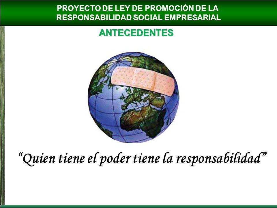 PROYECTO DE LEY DE PROMOCIÓN DE LA RESPONSABILIDAD SOCIAL EMPRESARIAL ANTECEDENTES Quien tiene el poder tiene la responsabilidad