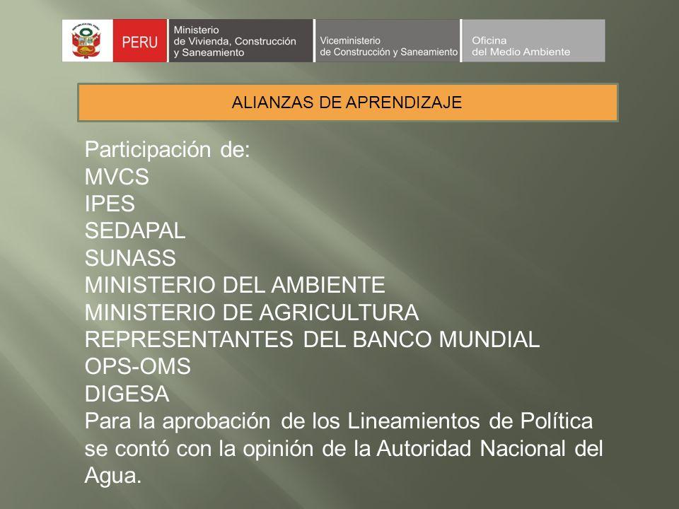 ALIANZAS DE APRENDIZAJE Participación de: MVCS IPES SEDAPAL SUNASS MINISTERIO DEL AMBIENTE MINISTERIO DE AGRICULTURA REPRESENTANTES DEL BANCO MUNDIAL OPS-OMS DIGESA Para la aprobación de los Lineamientos de Política se contó con la opinión de la Autoridad Nacional del Agua.