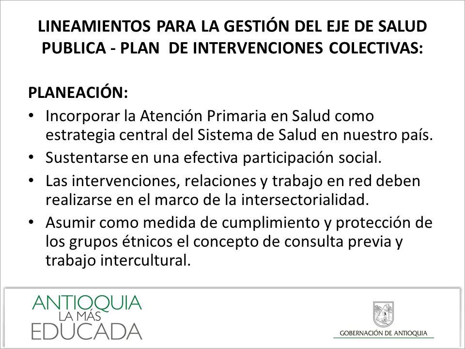 LINEAMIENTOS PARA LA GESTIÓN DEL EJE DE SALUD PUBLICA - PLAN DE INTERVENCIONES COLECTIVAS: PLANEACIÓN: Incorporar la Atención Primaria en Salud como e