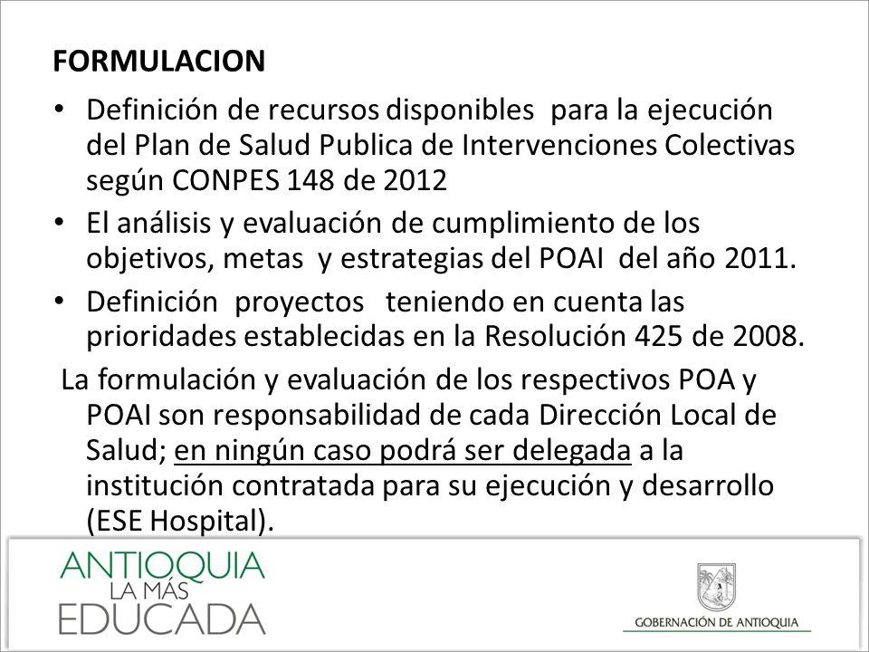 FORMULACION Definición de recursos disponibles para la ejecución del Plan de Salud Publica de Intervenciones Colectivas según CONPES 148 de 2012 El an