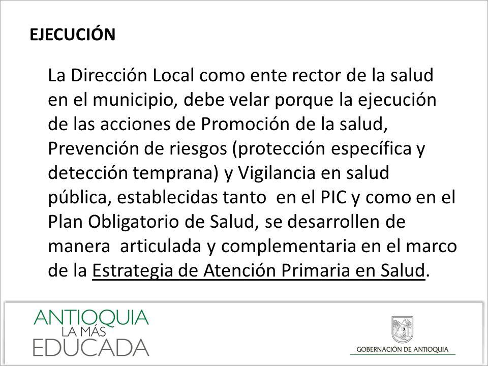 EJECUCIÓN La Dirección Local como ente rector de la salud en el municipio, debe velar porque la ejecución de las acciones de Promoción de la salud, Pr