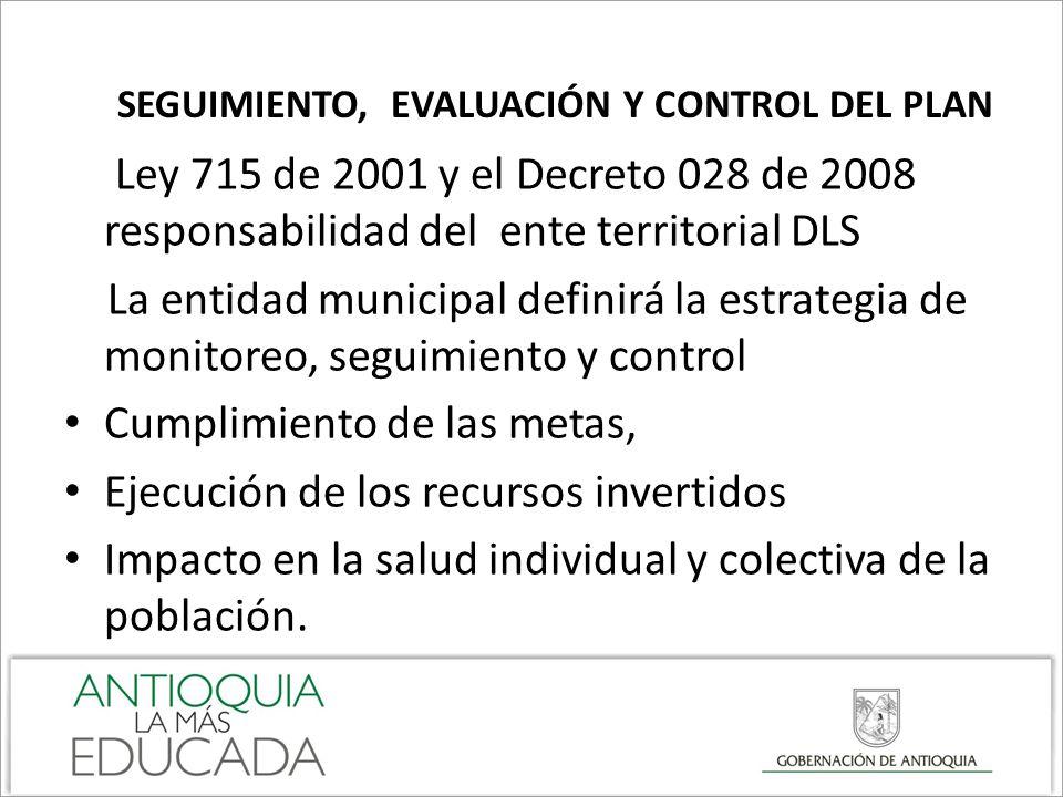 SEGUIMIENTO, EVALUACIÓN Y CONTROL DEL PLAN Ley 715 de 2001 y el Decreto 028 de 2008 responsabilidad del ente territorial DLS La entidad municipal defi