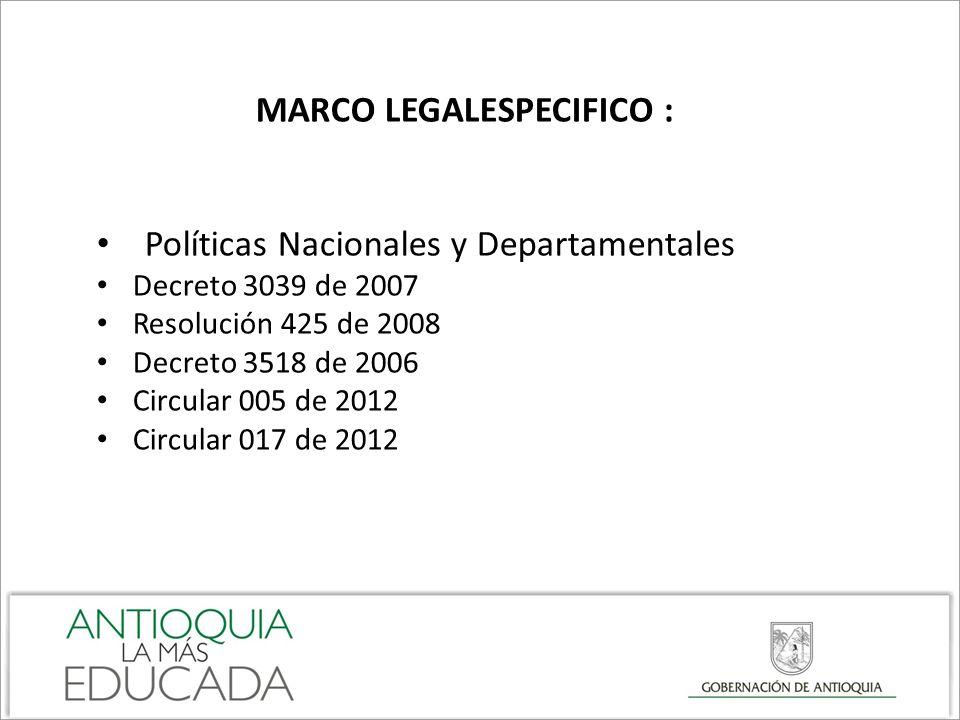 MARCO LEGALESPECIFICO : Políticas Nacionales y Departamentales Decreto 3039 de 2007 Resolución 425 de 2008 Decreto 3518 de 2006 Circular 005 de 2012 C