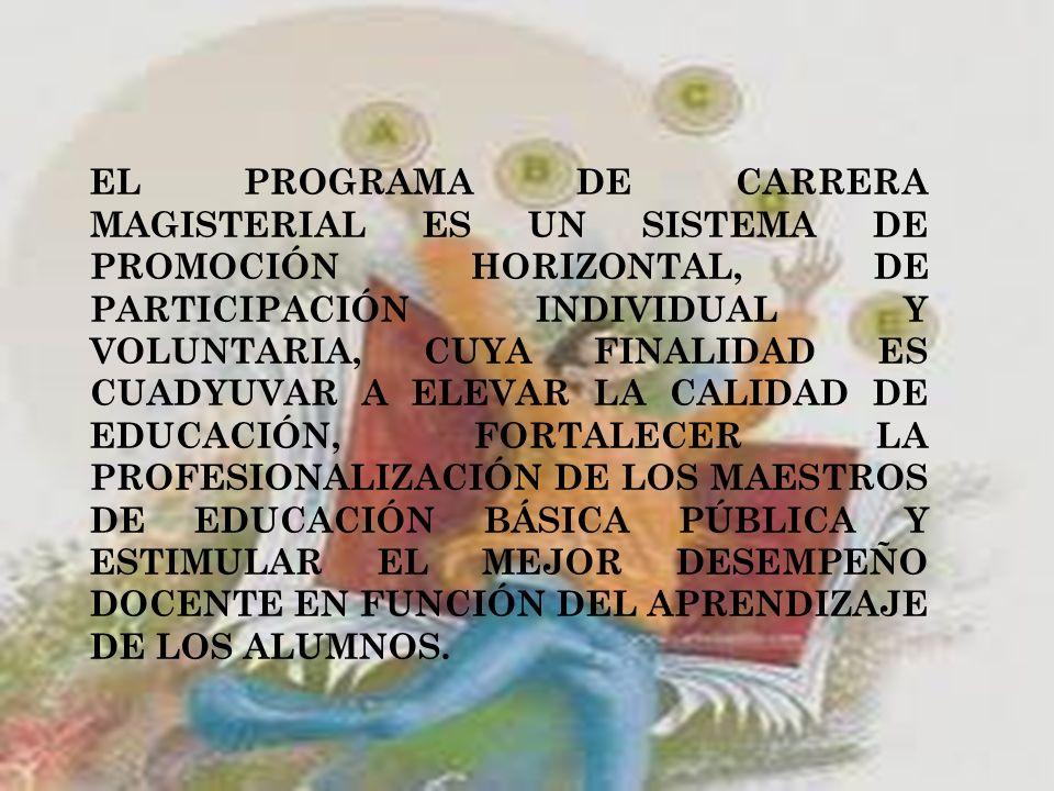 EL PROGRAMA DE CARRERA MAGISTERIAL ES UN SISTEMA DE PROMOCIÓN HORIZONTAL, DE PARTICIPACIÓN INDIVIDUAL Y VOLUNTARIA, CUYA FINALIDAD ES CUADYUVAR A ELEVAR LA CALIDAD DE EDUCACIÓN, FORTALECER LA PROFESIONALIZACIÓN DE LOS MAESTROS DE EDUCACIÓN BÁSICA PÚBLICA Y ESTIMULAR EL MEJOR DESEMPEÑO DOCENTE EN FUNCIÓN DEL APRENDIZAJE DE LOS ALUMNOS.