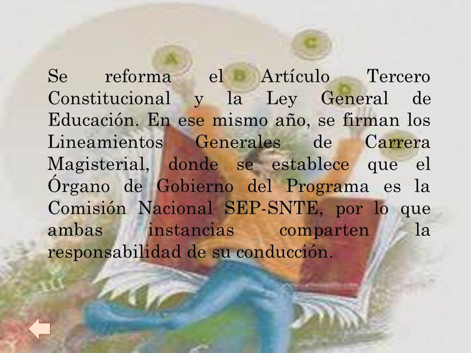 Con la firma del Acuerdo Nacional para la modernización de la Educación Básica (ANMEB) se crea una línea de Revaloración de la función magisterial del