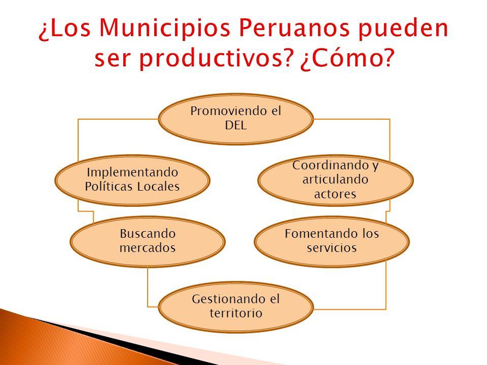 Promoviendo el DEL Coordinando y articulando actores Implementando Políticas Locales Fomentando los servicios Buscando mercados Gestionando el territo