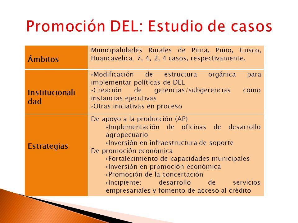 Ámbitos Municipalidades Rurales de Piura, Puno, Cusco, Huancavelica: 7, 4, 2, 4 casos, respectivamente. Institucionali dad Modificación de estructura