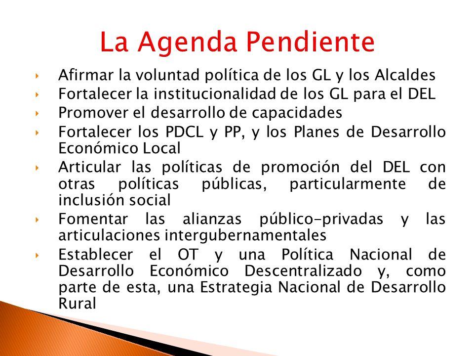 Afirmar la voluntad política de los GL y los Alcaldes Fortalecer la institucionalidad de los GL para el DEL Promover el desarrollo de capacidades Fort