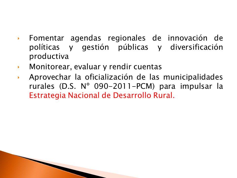 Fomentar agendas regionales de innovación de políticas y gestión públicas y diversificación productiva Monitorear, evaluar y rendir cuentas Aprovechar