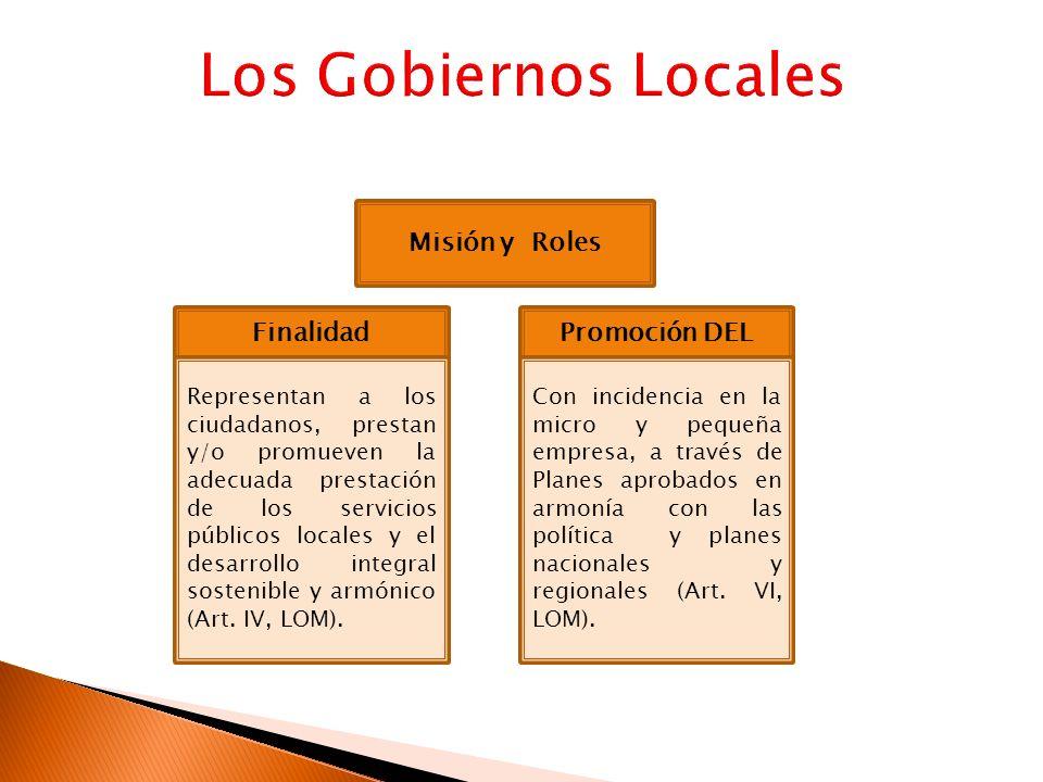 Misión y Roles Finalidad Representan a los ciudadanos, prestan y/o promueven la adecuada prestación de los servicios públicos locales y el desarrollo