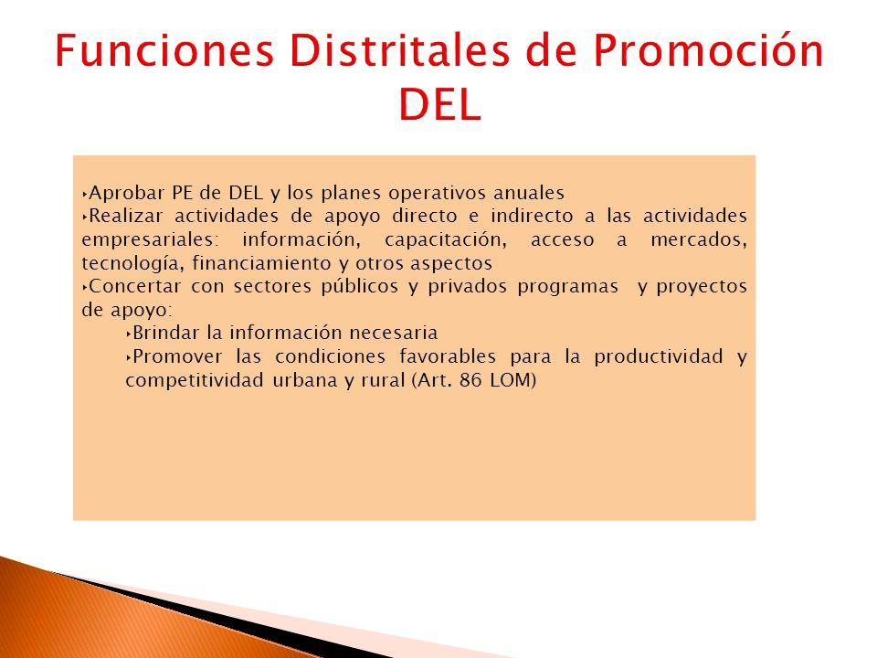 Aprobar PE de DEL y los planes operativos anuales Realizar actividades de apoyo directo e indirecto a las actividades empresariales: información, capa