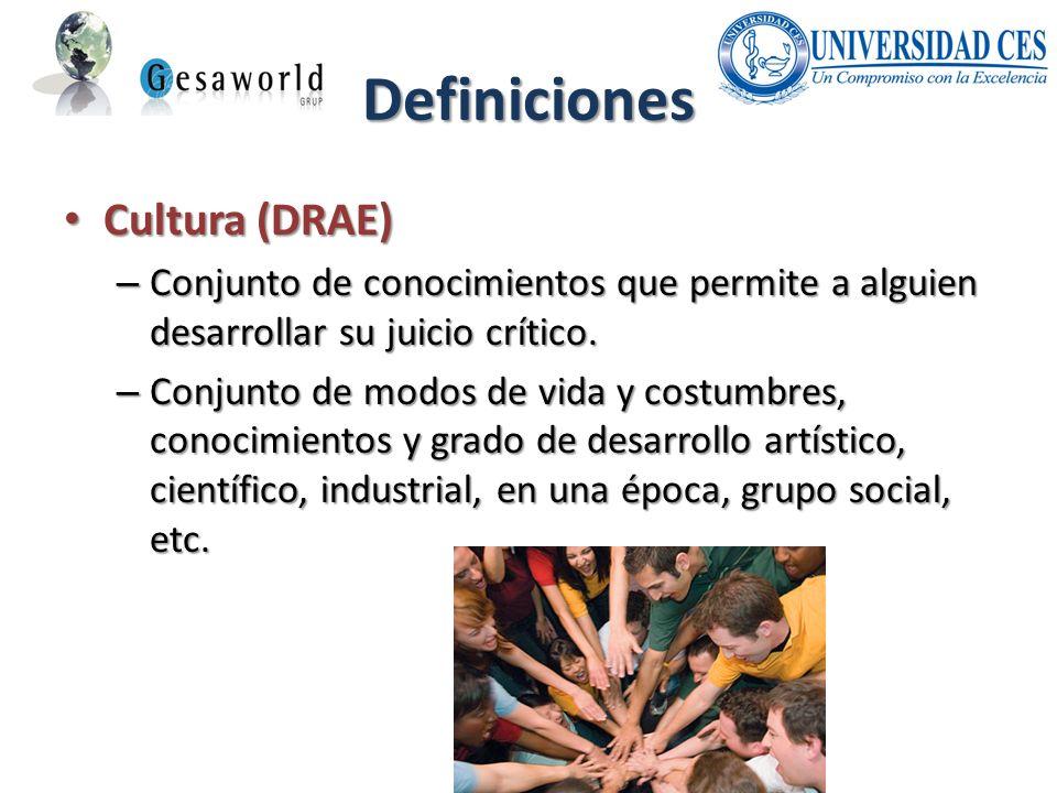 Definiciones Cultura (DRAE) Cultura (DRAE) – Conjunto de conocimientos que permite a alguien desarrollar su juicio crítico. – Conjunto de modos de vid