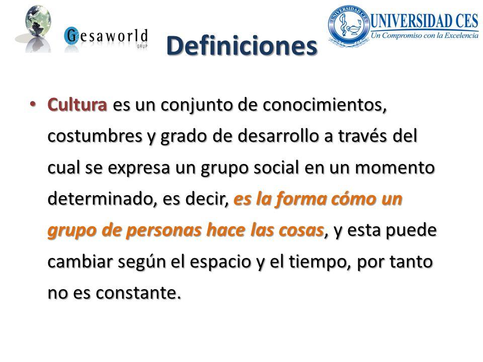 Definiciones Cultura es un conjunto de conocimientos, costumbres y grado de desarrollo a través del cual se expresa un grupo social en un momento dete