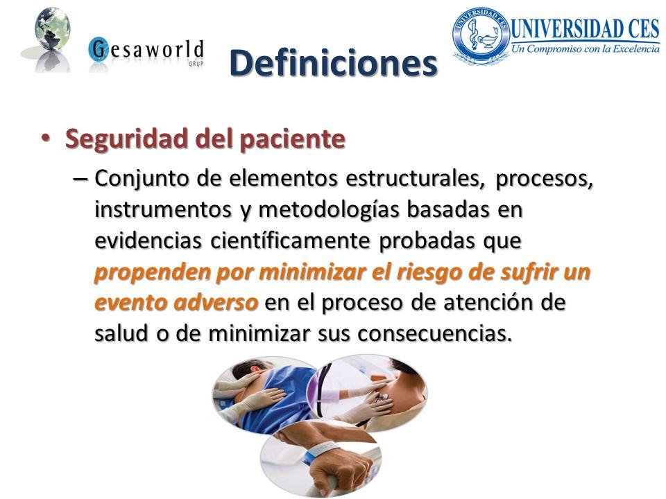 Definiciones Seguridad del paciente Seguridad del paciente – Conjunto de elementos estructurales, procesos, instrumentos y metodologías basadas en evi