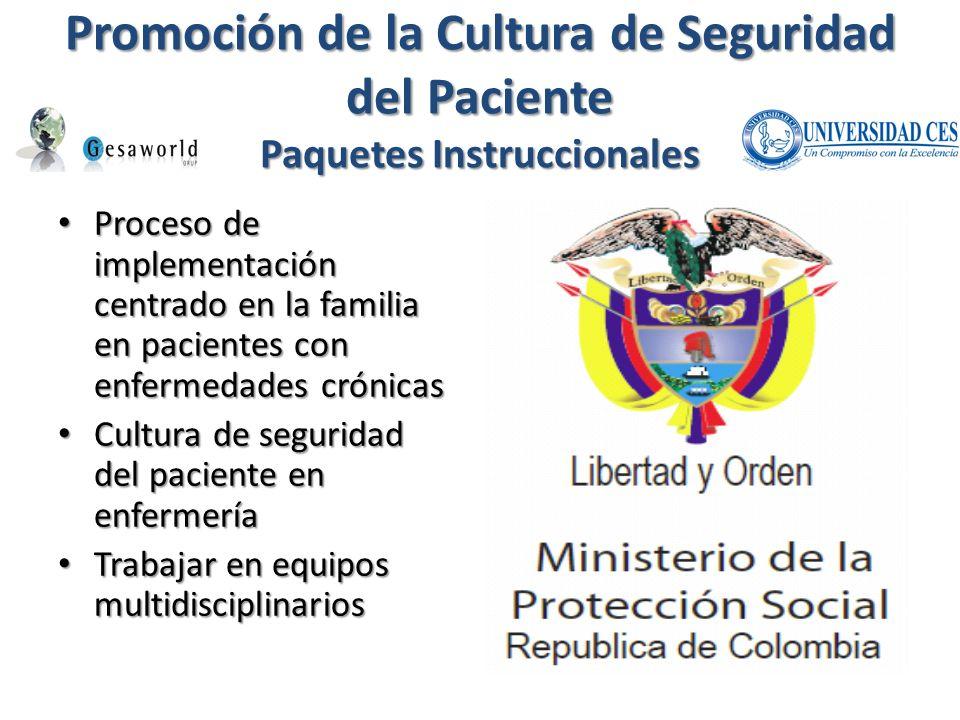 Promoción de la Cultura de Seguridad del Paciente Paquetes Instruccionales Proceso de implementación centrado en la familia en pacientes con enfermeda