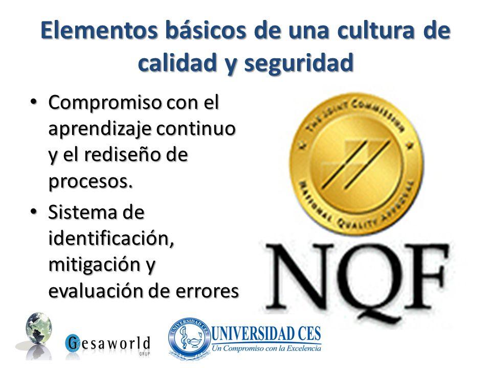 Elementos básicos de una cultura de calidad y seguridad Compromiso con el aprendizaje continuo y el rediseño de procesos. Compromiso con el aprendizaj
