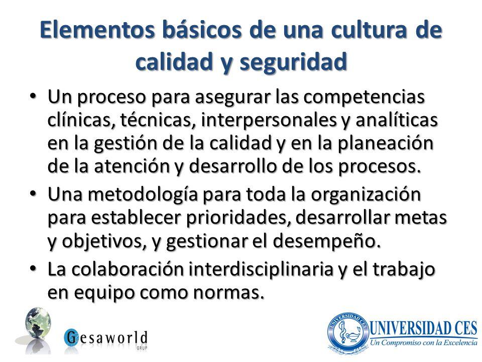 Elementos básicos de una cultura de calidad y seguridad Un proceso para asegurar las competencias clínicas, técnicas, interpersonales y analíticas en