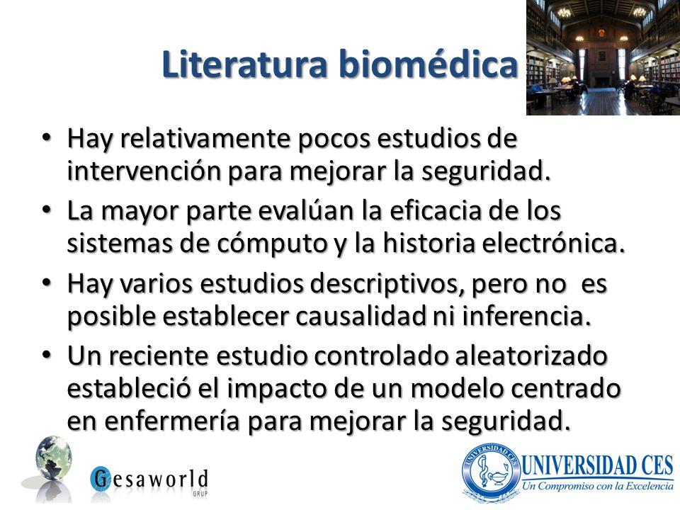 Literatura biomédica Hay relativamente pocos estudios de intervención para mejorar la seguridad. Hay relativamente pocos estudios de intervención para
