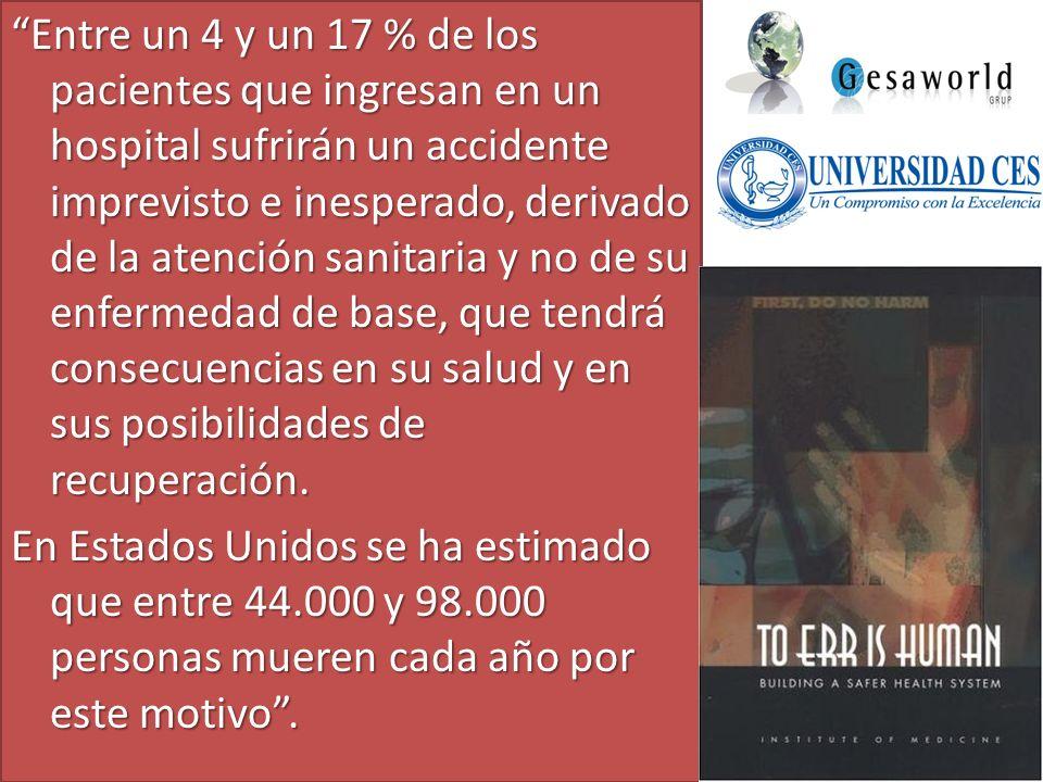 Entre un 4 y un 17 % de los pacientes que ingresan en un hospital sufrirán un accidente imprevisto e inesperado, derivado de la atención sanitaria y n