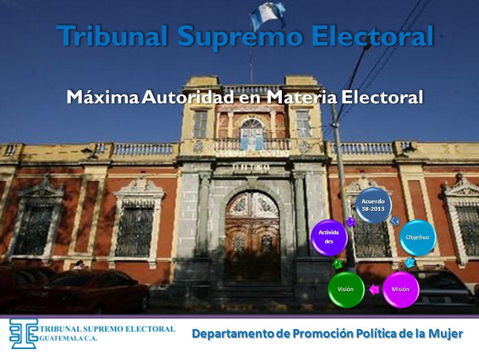Tribunal Supremo Electoral Máxima Autoridad en Materia Electoral Acuerdo 38-2013 Objetivo MisiónVisión Activida des Departamento de Promoción Política