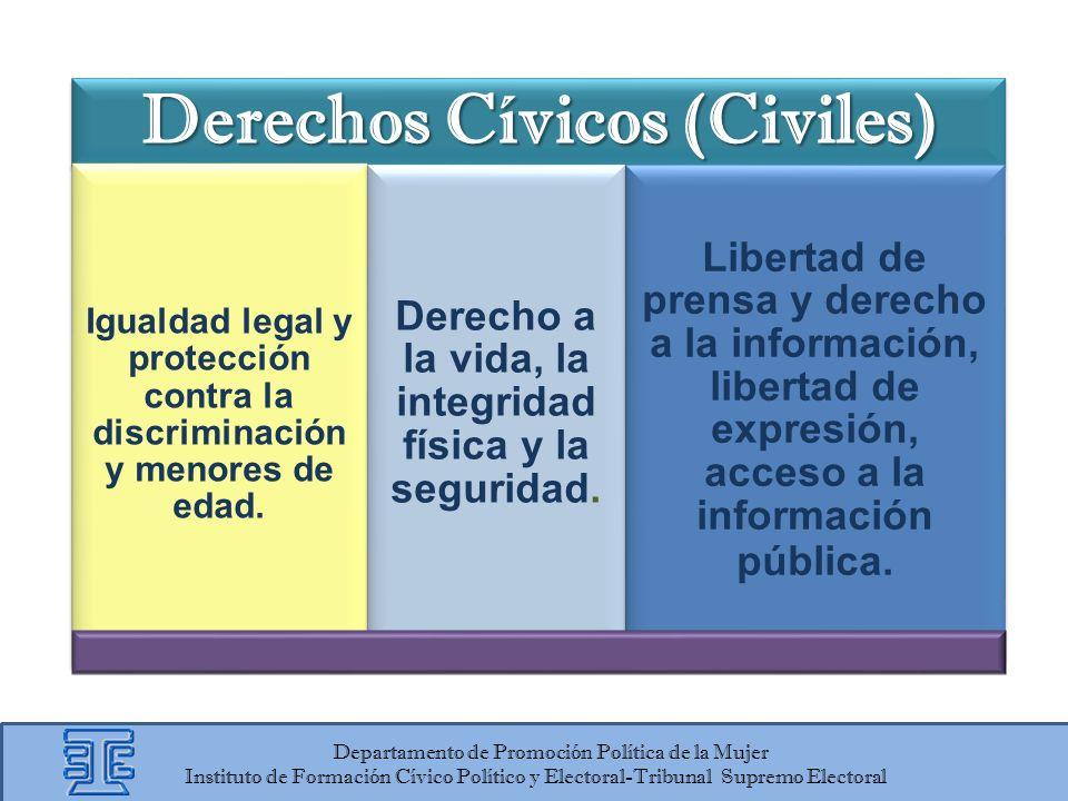 Derechos Cívicos (Civiles) Igualdad legal y protección contra la discriminación y menores de edad. Derecho a la vida, la integridad física y la seguri