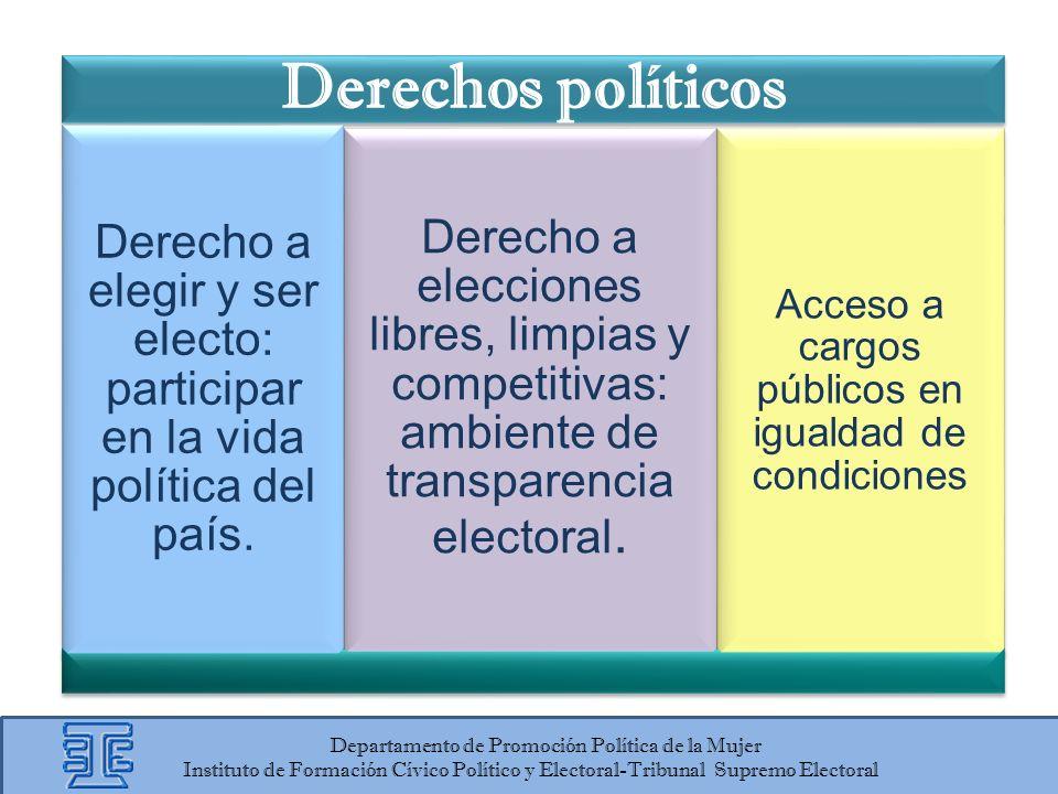 Departamento de Promoción Política de la Mujer Instituto de Formación Cívico Político y Electoral-Tribunal Supremo Electoral