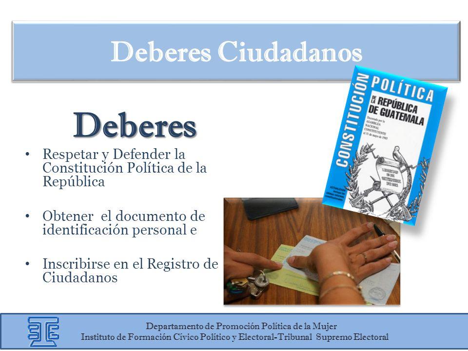 Deberes Ciudadanos Deberes Respetar y Defender la Constitución Política de la República Obtener el documento de identificación personal e Inscribirse